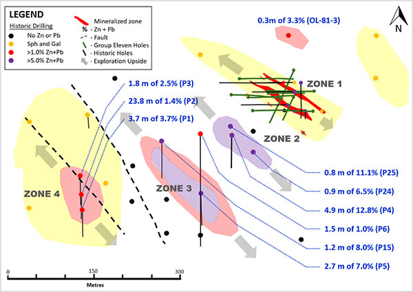 Exhibit 9. Plan Map of Zones 1, 2, 3 and 4 at Carrickittle Prospect, PG West Project, Ireland