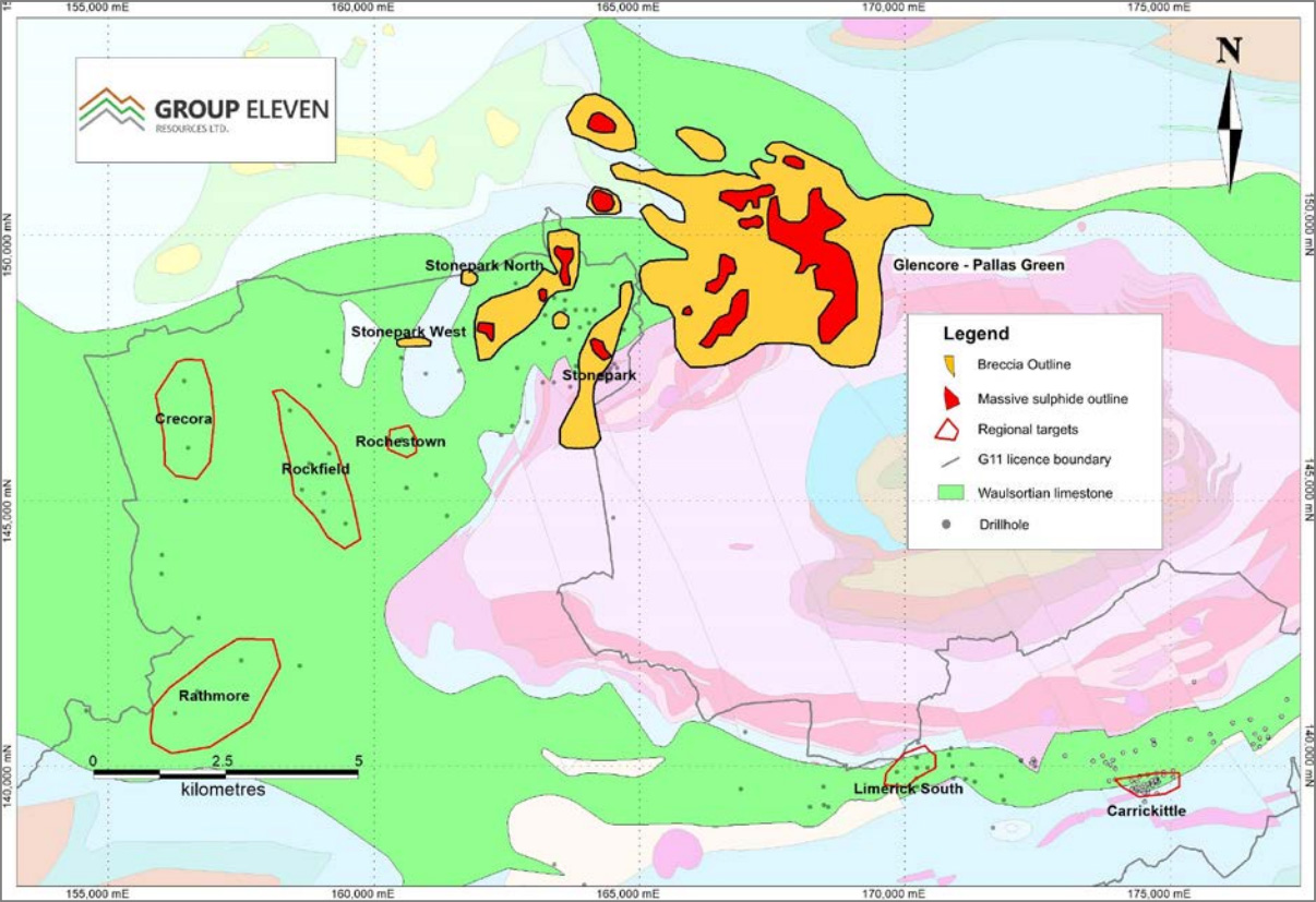 Exhibit 3. Stonepark  areas, regional targets and Glencore's Pallas Green deposit, Ireland
